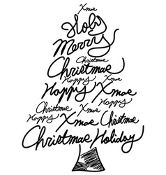 doodle Christmas tree word clouds vector image