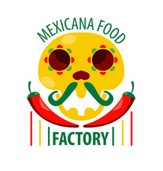 mexican food restaurant skull and chili pepper vector image vector image