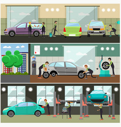 set of car service auto repair concept vector image