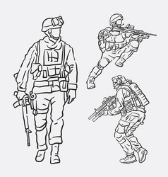 soldier army action hand drawing style vector image