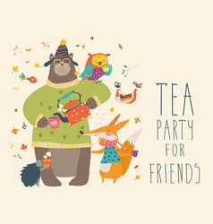 tea party with cute animals vector image vector image