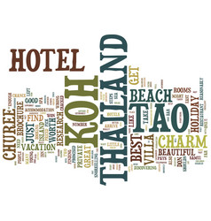 the best koh tao hotel for your thailand holiday vector image