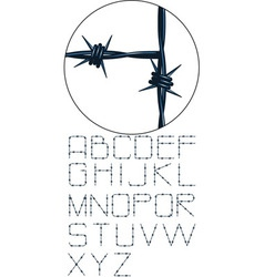 very detailed barbed wire alphabet vector image