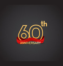 60 anniversary logotype design with line golden vector