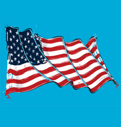 american artistic brush stroke waving flag vector image