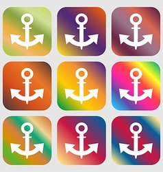 Anchor icon nine buttons with bright gradients vector