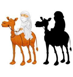 Arab man riding camel vector