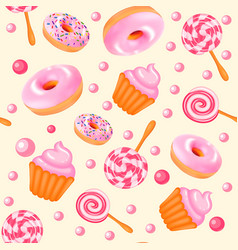 Background seamless sweet donuts candy cupcakes vector