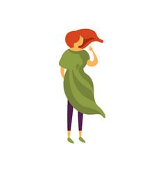beautiful stylish girl in green dress elegant vector image
