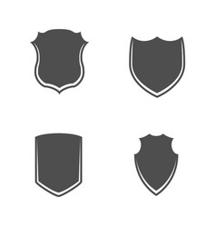 black and white shields set vector image
