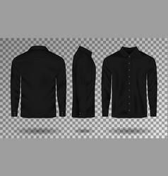 Blank male black shirt template realistic men vector