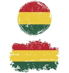 Bolivian round and square grunge flags vector