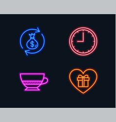 Bombon coffee money exchange and time icons vector