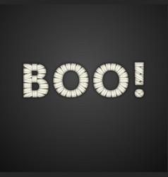 Boo text mummy bandage font halloween card vector
