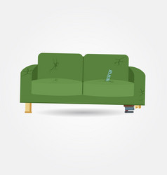 Broken old couch with holes and spring vector