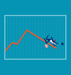 Businessman falling down a red arrow on a chart vector
