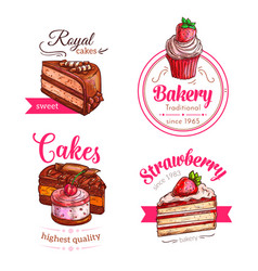 Cakes and cupcakes dessert emblems vector