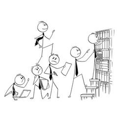 Cartoon of businessman climbing up backs of his vector