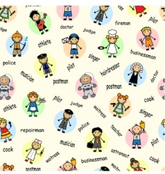Cartoon seamless pattern with employees vector image