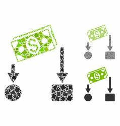cash flow mosaic icon ragged items vector image
