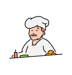 chef cook in hat character in vector image