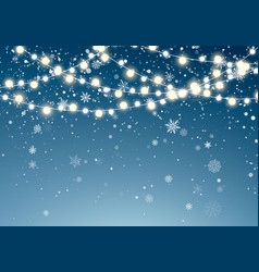 christmas lights with glittering falling vector image