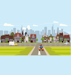 city street buildings old houses architecture vector image