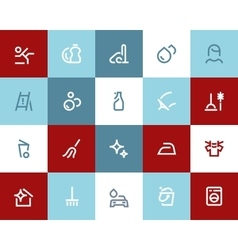 Cleaning icons Flat style vector image