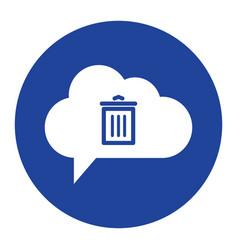 Cloud trash icon computing concept vector
