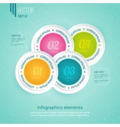 Colored icons for four steps vector image