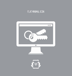 computer password - flat minimal icon vector image