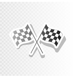 crossed checkered flags logo waving in the wind vector image vector image