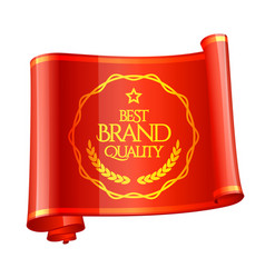 Curved red ribbon brand quality mark vector