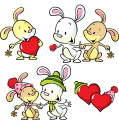 cute bunnies isolated on white background vector image