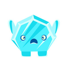 Cute crystal stone with frightened face cartoon vector