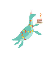 Cute dinosaur in party hat with birthday cake vector