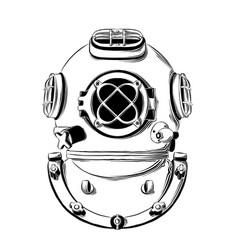 drawing diving helmet in black color vector image