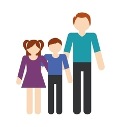 Family father and children lovely vector