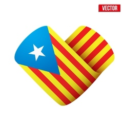 Flag icon in the form of heart I love Catalonia vector