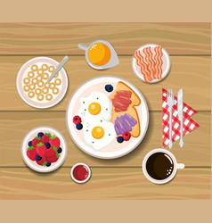 Fried eggs with sliced bread and cereal vector