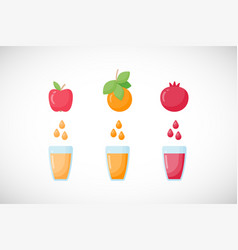fruit fresh juice flat icon set vector image
