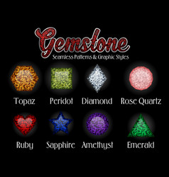 Gemstone seamless pattern and graphic styles vector