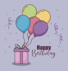 gift box with balloons helium vector image