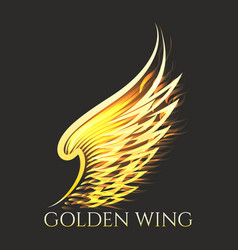 Golden wing emblem on black background vector
