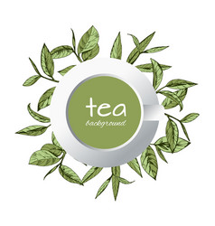 Green tea logo hand-drawn leaves tea vector