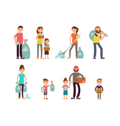 group of people adult and kids characters vector image