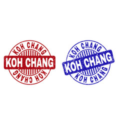 Grunge koh chang scratched round watermarks vector