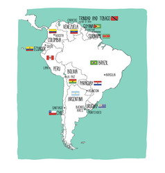hand drawn map of south america with flags vector image