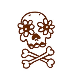 Hand Drawn Skull and Bones with Floral Element vector