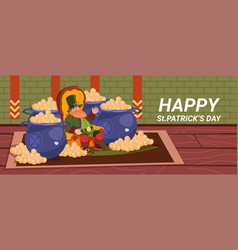 happy st patricks day decoration card with vector image